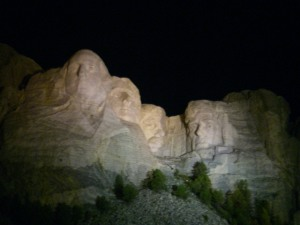 Mt. Rushmore at night. Incredible